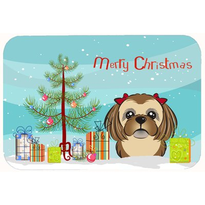 Christmas Tree and Shih Tzu Kitchen/Bath Mat Size: 24 W x 36 L, Color: Chocolate/Brown