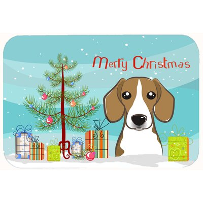 Christmas Tree and Beagle Kitchen/Bath Mat Size: 24 W x 36 L