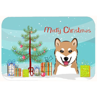 Christmas Tree and Shiba Inu Kitchen/Bath Mat Size: 24 W x 36 L