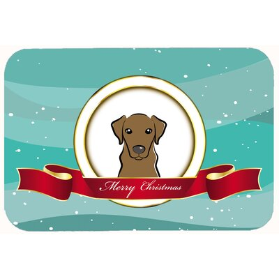 Labrador Merry Christmas Kitchen/Bath Mat Size: 20 W x 30 L, Color: Chocolate