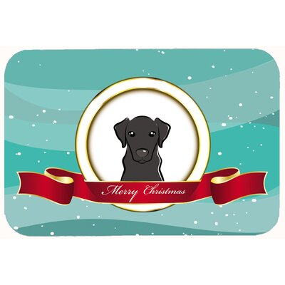 Labrador Merry Christmas Kitchen/Bath Mat Size: 24 W x 36 L, Color: Black