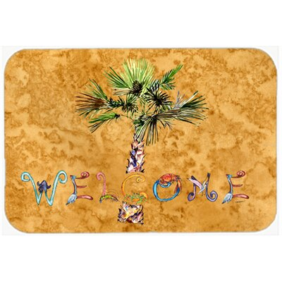 Welcome Palm Tree Kitchen/Bath Mat Size: 24 W x 36 L, Color: Gold