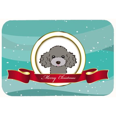 Poodle Merry Christmas Kitchen/Bath Mat Color: Silver/Gray, Size: 20 W x 30 L