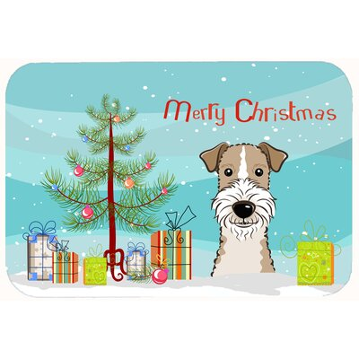 Christmas Tree and Wire Haired Fox Terrier Kitchen/Bath Mat Size: 24 W x 36 L