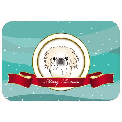 Pekingese Merry Christmas Kitchen/Bath Mat Size: 24