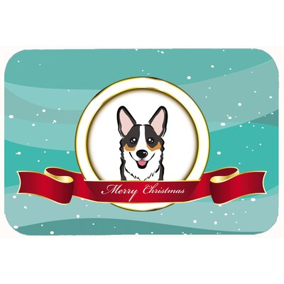 Corgi Merry Christmas Kitchen/Bath Mat Size: 24 W x 36 L, Color: Sable