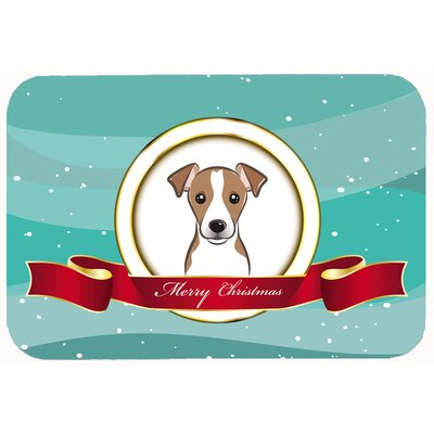 Jack Russell Terrier Merry Christmas Kitchen/Bath Mat Size: 20 W x 30 L, Color: Brown