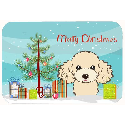 Christmas Tree and Poodle Kitchen/Bath Mat Size: 20 W x 30 L, Color: Buff