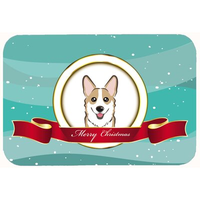 Corgi Merry Christmas Kitchen/Bath Mat Size: 20 W x 30 L, Color: Black/Gray/Tan