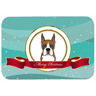 Boxer Merry Christmas Kitchen/Bath Mat Size: 24 W x 36 L