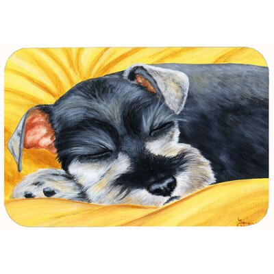 Snoozing Schnauzer Kitchen/Bath Mat Size: 24 W x 36 L