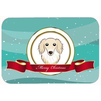 Longhair Dachshund Merry Christmas Kitchen/Bath Mat Size: 24 W x 36 L, Color: Cream