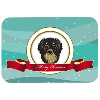 Longhair Dachshund Merry Christmas Kitchen/Bath Mat Size: 24 W x 36 L, Color: Black/Tan