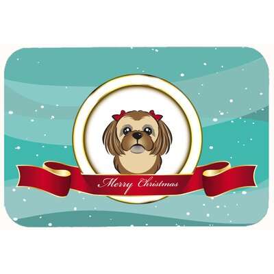 Shih Tzu Merry Christmas Kitchen/Bath Mat Size: 20 W x 30 L, Color: Chocolate/Brown