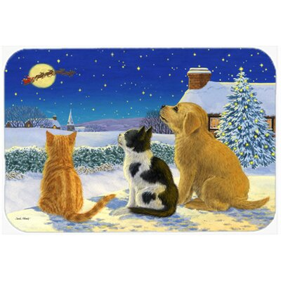 Retriever and Kittens Watching Santa Kitchen/Bath Mat Size: 20 W x 30 L