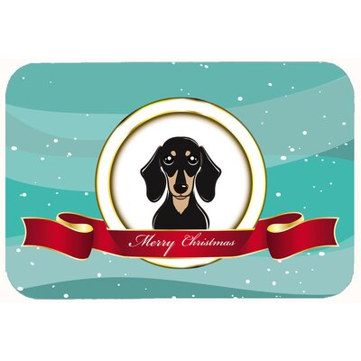 Smooth Dachshund Merry Christmas Kitchen/Bath Mat Size: 24 W x 36 L