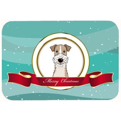 Wire Haired Fox Terrier Merry Christmas Kitchen/Bath Mat Size: 20 W x 30 L