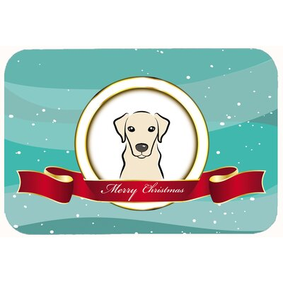 Labrador Merry Christmas Kitchen/Bath Mat Size: 24 W x 36 L, Color: Cream