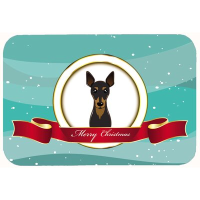 Min Pin Merry Christmas Kitchen/Bath Mat Size: 24 W x 36 L