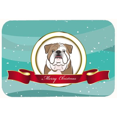 English Bulldog Merry Christmas Kitchen/Bath Mat Size: 24 W x 36 L, Color: Brown