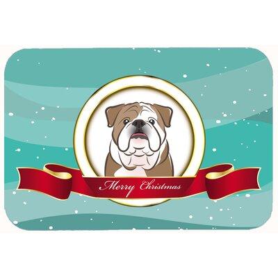 English Bulldog Merry Christmas Kitchen/Bath Mat Size: 20 W x 30 L, Color: Brown
