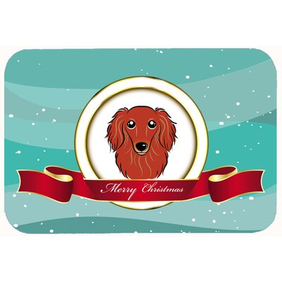 Longhair Dachshund Merry Christmas Kitchen/Bath Mat Size: 24 W x 36 L, Color: Red