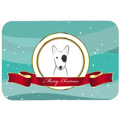Bull Terrier Merry Christmas Kitchen/Bath Mat Size: 24 W x 36 L