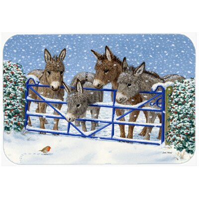 Donkeys and Robin at the Fence Kitchen/Bath Mat Size: 20 W x 30 L