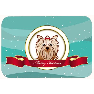 Yorkie Yorkshire Terrier Merry Christmas Kitchen/Bath Mat Size: 24 W x 36 L