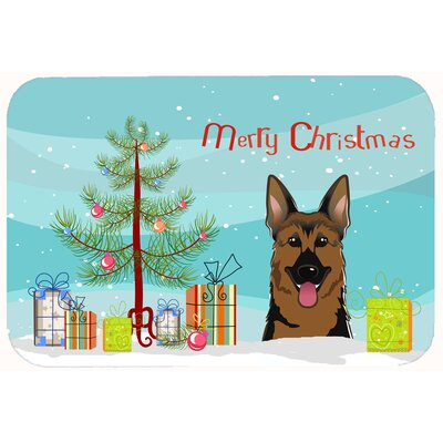 Christmas Tree and German Shepherd Kitchen/Bath Mat Size: 24 W x 36 L