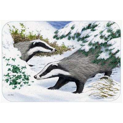 Badgers in the Snow Kitchen/Bath Mat Size: 20 W x 30 L