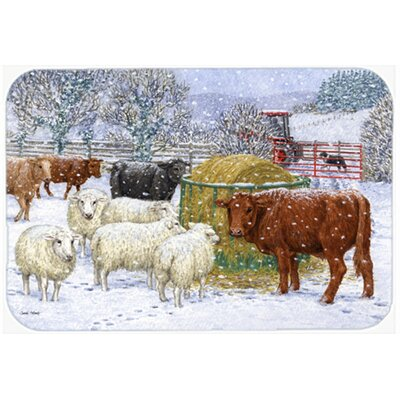 Cows and Sheep in the Snow Kitchen/Bath Mat Size: 20