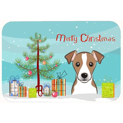 Christmas Tree and Jack Russell Terrier Kitchen/Bath Mat Size: 20 W x 30 L, Color: Brown