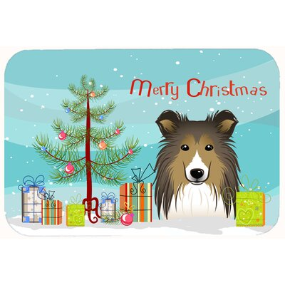 Christmas Tree and Sheltie Kitchen/Bath Mat Size: 20 W x 30 L