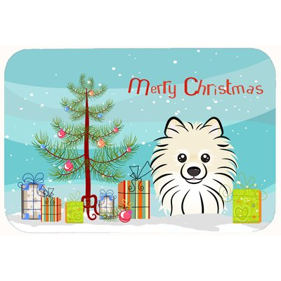 Christmas Tree and Pomeranian Kitchen/Bath Mat Size: 20 W x 30 L
