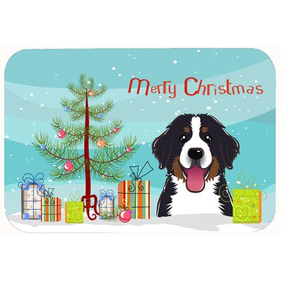 Christmas Tree and Bernese Mountain Dog Kitchen/Bath Mat Size: 24 W x 36 L