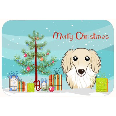 Christmas Tree and Longhair Dachshund Kitchen/Bath Mat Color: Cream, Size: 24 W x 36 L
