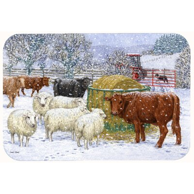 Cows and Sheep in the Snow Kitchen/Bath Mat Size: 24 W x 36 L