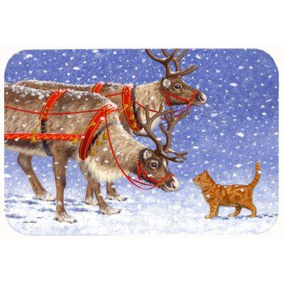 Reindeer and Cat Kitchen/Bath Mat Size: 24 W x 36 L