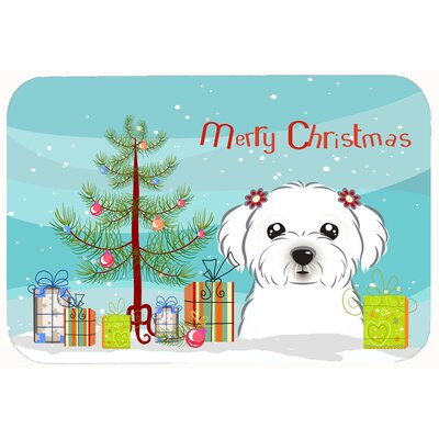 Christmas Tree and Maltese Kitchen/Bath Mat Size: 20 W x 30 L