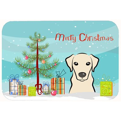 Christmas Tree and Labrador Kitchen/Bath Mat Size: 24 W x 36 L, Color: Cream