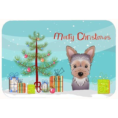 Christmas Tree and Yorkie Puppy Kitchen/Bath Mat Size: 20 W x 30 L