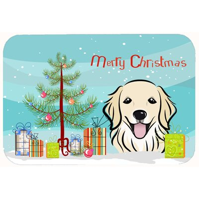 Christmas Tree and Ivory Retriever Kitchen/Bath Mat Size: 20 W x 30 L