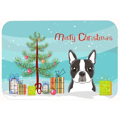 Christmas Tree and Boston Terrier Kitchen/Bath Mat Size: 24 W x 36 L