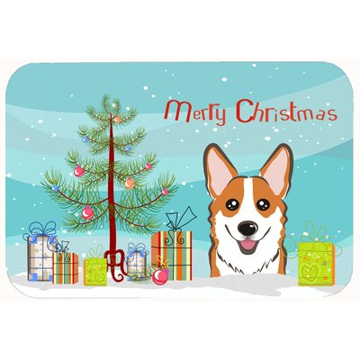 Christmas Tree and Corgi Kitchen/Bath Mat Size: 24 W x 36 L, Color: Sable