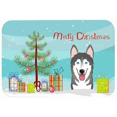 Christmas Tree and Alaskan Malamute Kitchen/Bath Mat Size: 24 W x 36 L