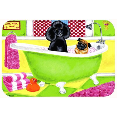 Tub for Two with Poodle and Pug Kitchen/Bath Mat Size: 24 W x 36 L