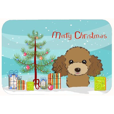Christmas Tree and Poodle Kitchen/Bath Mat Size: 20 W x 30 L, Color: Chocolate/Brown