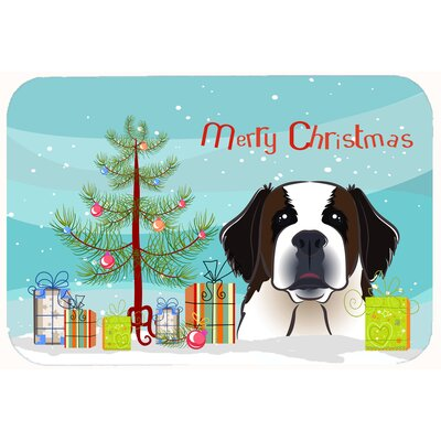 Christmas Tree and Saint Bernard Kitchen/Bath Mat Size: 20 W x 30 L