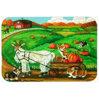 Corgi Pumpkin Ride with Goat Kitchen/Bath Mat Size: 20 W x 30 L